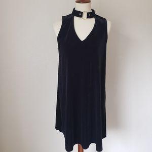 Xhilaration black velvet grungy swing dress S